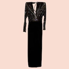 Vintage Bob Mackie Sequin Beaded Illusion Dress / Gown Size S