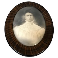 Antique Oval Convex Glass Picture Frame with Victorian Woman