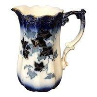 Antique Porcelain Ivy Flow Blue & Gold Trim Pitcher