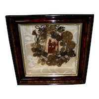 Victorian Mourning Hair Wreath and Photo Shadowbox