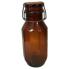 Made in Italy Antique Brown Canning Jar With Lid.