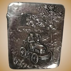 Sterling Silver Match Safe Embossed with Man and Woman in a Car