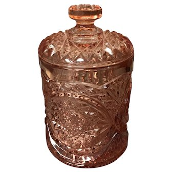 Imperial Glass – Ohio Pink (Azalea) Hobstar Cookie Jar