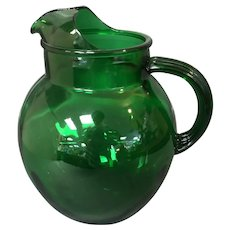 96oz Water Pitcher from Anchor Hocking in the Roly Poly Forest Green Pattern.