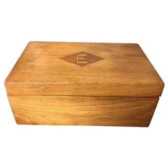 "Vintage Walnut Box with Mahogany Diamond Shape and ""E"" Monogram"