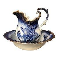 Antique Empire Works Flow Blue Iris Pitcher and Wash Basin / Bowl