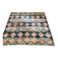 1860's Silk Log Cabin Geometric Blues & Pink Quilt Made by Susan Barker Duncombe