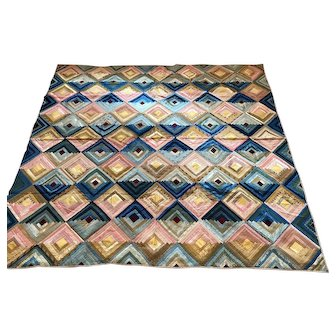 1860's Silk Log Cabin Quilt Made by Susan Barker Duncombe