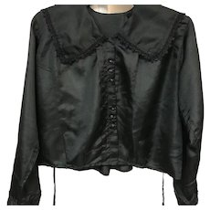 19th Century Black Victorian Blouse with Eyelet Trim