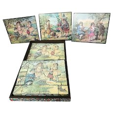 Antique Child's 6-Sided Lithograph Wood Block Puzzle in Wooden Box