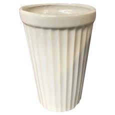 Large White Ribbed Cylinder Vase by McCoy Pottery