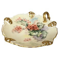 Hand Painted Floral with Berries Vienna Austria Nappy Dish Dated 1903