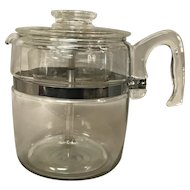 Vintage Pyrex Flameware 9 Cup Glass Coffee Pot Percolator
