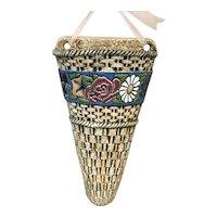 Czechoslovakia Amphora Pottery Basket Weave Wall Pocket