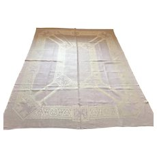 Victorian Lavender Tablecloth with Winged Lions and 6 Napkins