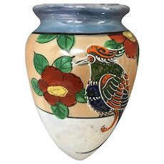 Hand Painted Lusterware Japan Wall Pocket with Bird.