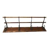 Antique Wooden Coat Rack with Cast Iron Hooks