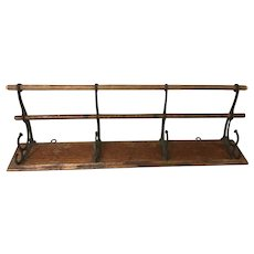 Antique Wooden Coat Rack with Cast Iron Hooks