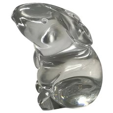 Signed Baccarat Crystal Bunny Rabbit Figurine