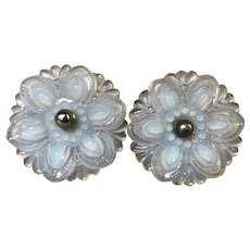 Set of 2 Opalescent Glass Floral Curtain Tie Backs
