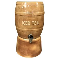 Vintage 2 Piece Iced Tea Crock Barrel / And Pedestal