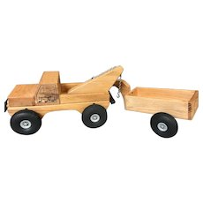 3 Pc. Handmade / Handcrafted Wood Tow Truck and Trailer Made in Germany