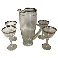 Mid Century 5 Piece Bar Set Pitcher and 4 Wine / Cocktail Glasses
