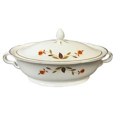 Hall China Autumn Leaf Oval Covered Serving Bowl