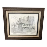 Framed Print of Paul Revere House In 1677 By J. Harold Bailey