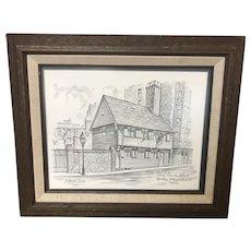 Framed Print of Paul Revere House In 1677 By J. Harold Bailey