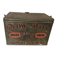 Antique Plow Boy Smoke Chew Smoking Lunch Box Tin Wit Handle