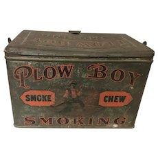Antique Plow Boy Smoke Chew Smoking Lunch Box Tin Wit Handle