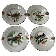 Set of 4 Vintage Small Personal Bird Ashtrays