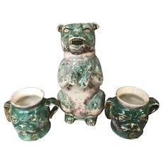 Antique English Lebeau Figural Pug Dog Pitcher and 2 Mugs