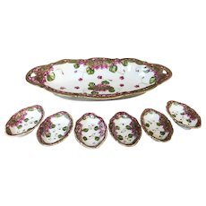 Hand Painted Celery Dish With 6 Salts Circa 1920's