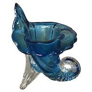 Art Glass Blue and Clear Glass Jack in the Pulpit Horn Of Plenty Vase
