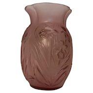 Vintage Daffodil Flowered Pink Glass Vase