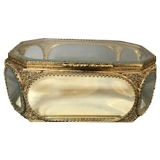 Vintage Jewelry Casket with 8 Glass Panels