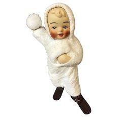 "Vintage 4 1/4"" Snow Baby On Skies Figurine"