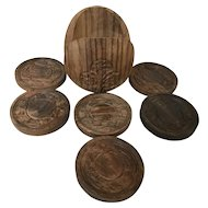 Vintage Carved Teak Wood Coasters With Holder Set