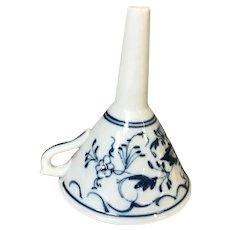 """1900's 4.5"""" Blue Onion Porcelain Funnel."""