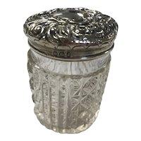Antique 1897 Cut Crystal Sterling Silver Dresser Jar by William Needham