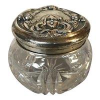 Art Nouveau Cut Crystal Dresser Jar With Sterling Silver Lid