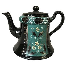 Vintage Hand Painted Black and Teal Teapot