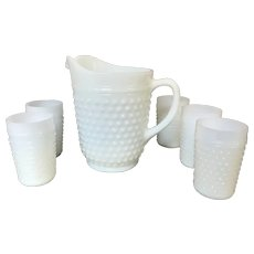 Set of Milk Glass Hobnail Pitcher and 5 Glasses