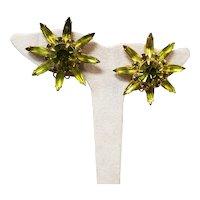 : Green Rhinestone Flower Clip Earrings Signed Judy Lee  1960s