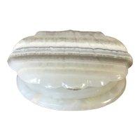 Mid Century 3 Footed Shell Shaped Italian Onyx Trinket Box