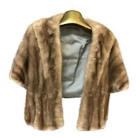 Vintage Brown Mink Fur Stole / Shawl