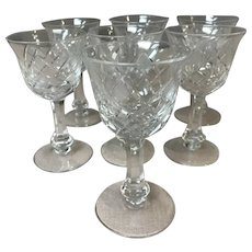 Set Of 7 Lead Crystal Sherry Glasses