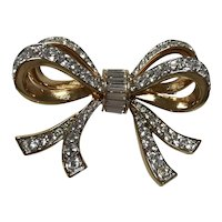 Swarovski Double Ribbon Brooch / Pin with Rhinestones